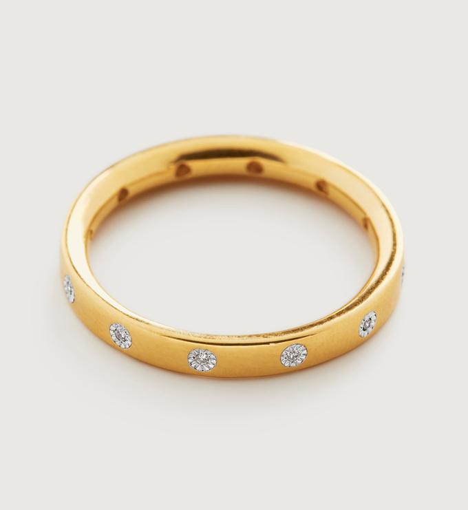 Gold Vermeil Fiji Gem Diamond Ring - Diamond - Monica Vinader