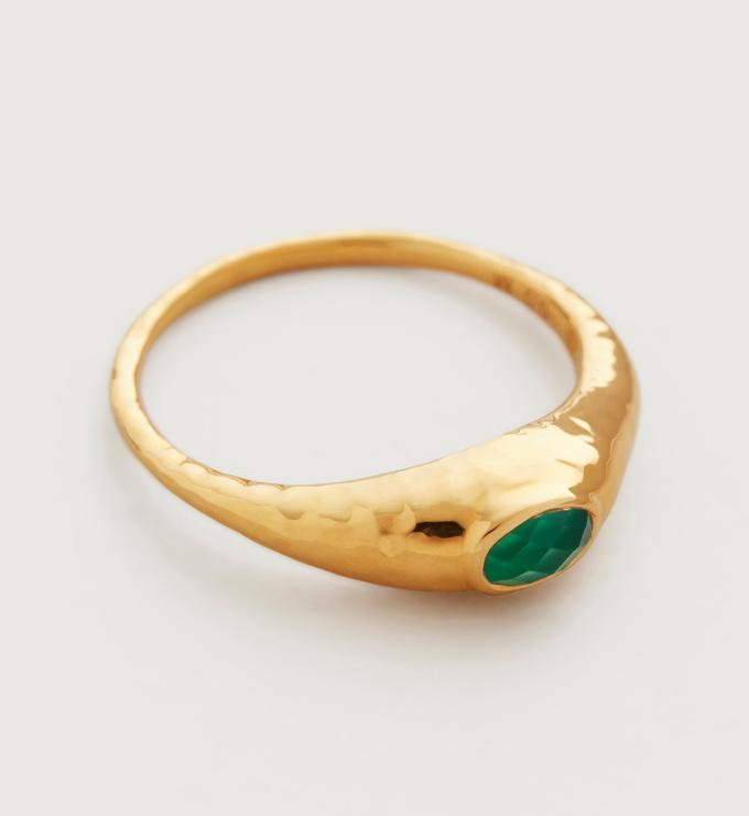 Gold Vermeil Deia Gemstone Ring - Green Onyx - Monica Vinader