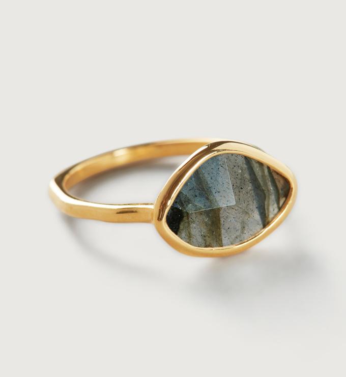 Gold Vermeil Petal Ring - Labradorite - Monica Vinader