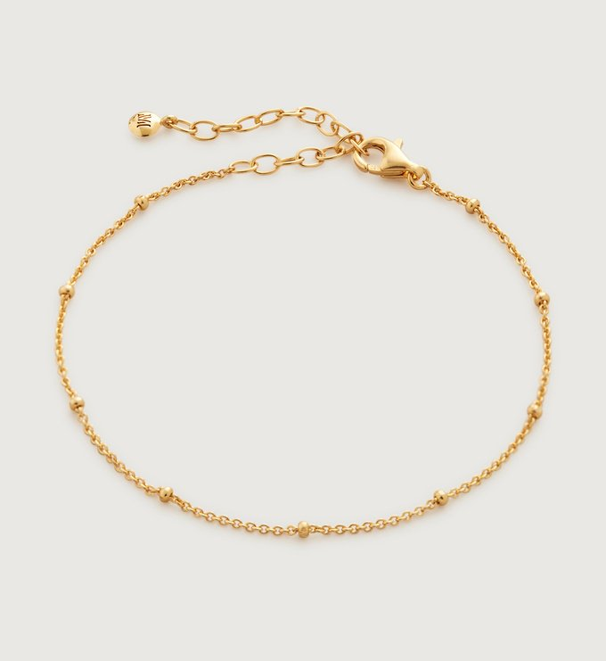 Gold Vermeil Fine Beaded Chain Bracelet - Monica Vinader