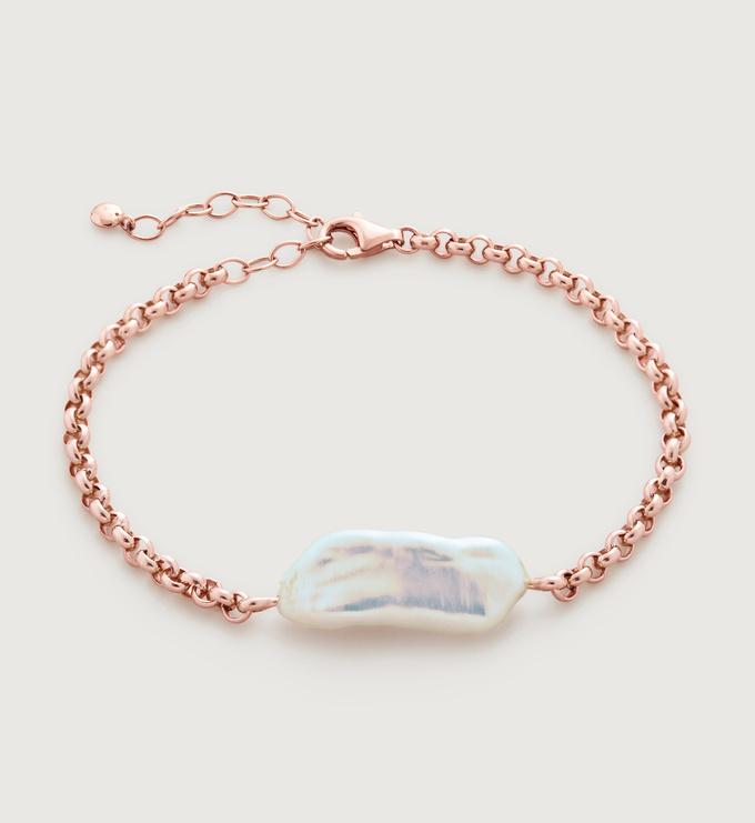 Rose Gold Vermeil Nura Biwa Pearl Bracelet - Pearl - Monica Vinader