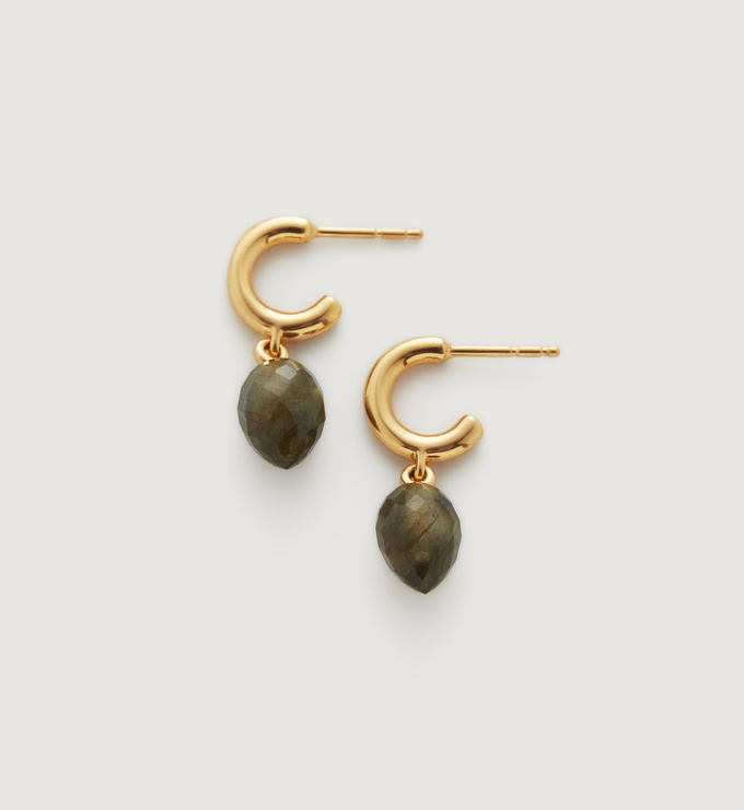 Gold Vermeil Fiji Bud Huggie Earrings - Labradorite - Monica Vinader