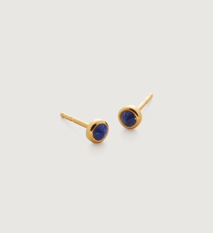 Gold Vermeil Mini Gem Stud Earrings - Lapis - Monica Vinader