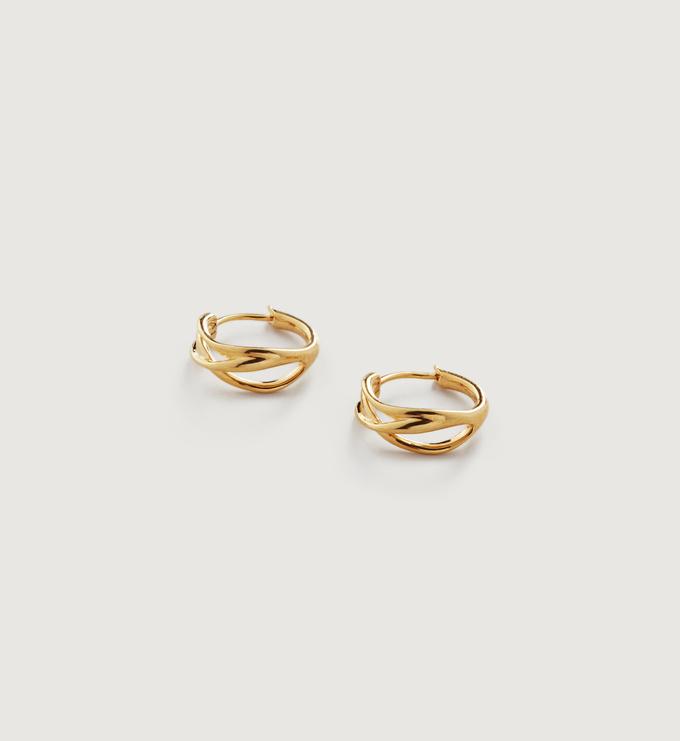 Gold Vermeil Nura Reef Crossover Huggie Earrings - Monica Vinader