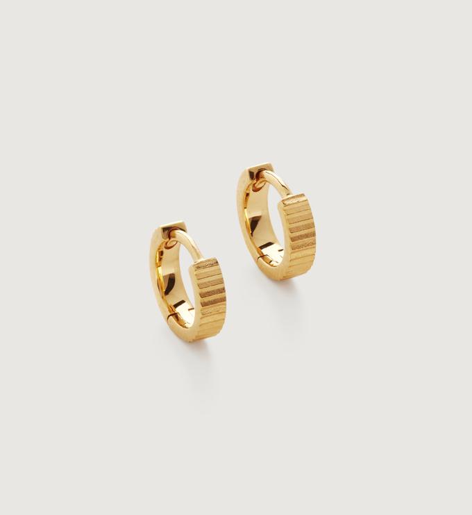 Gold Vermeil Disco Huggie Earrings  - Monica Vinader