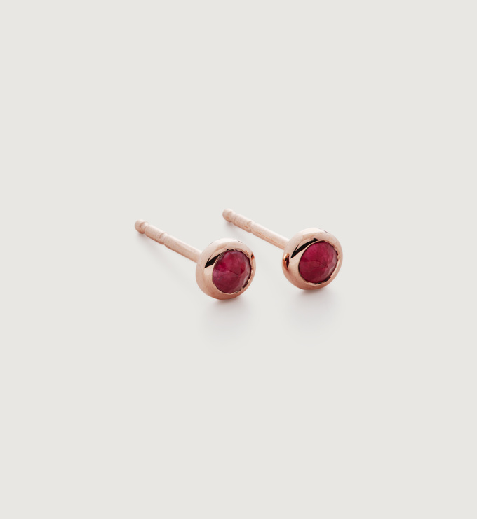 Rose Gold Vermeil Mini Gem Stud Earrings - Pink Quartz - Monica Vinader
