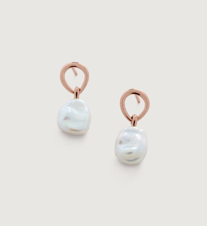 Rose Gold Vermeil Nura Keshi Pearl Drop Earrings - Pearl - Monica Vinader