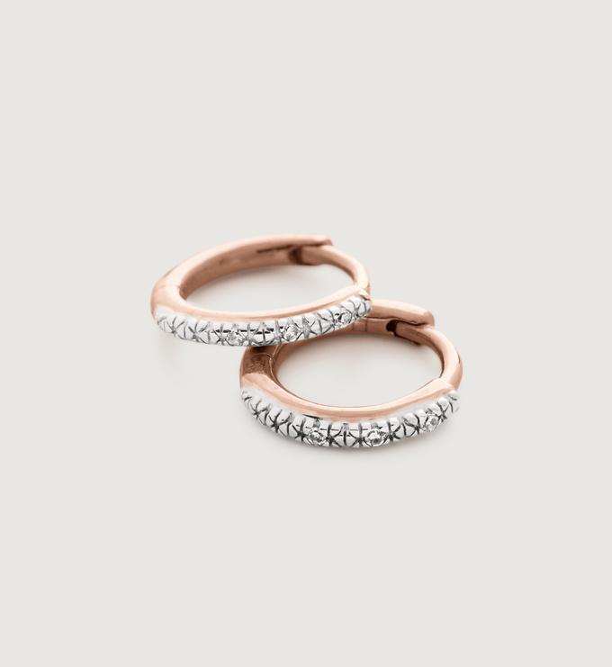 Rose Gold Vermeil Riva Mini Diamond Huggie Earrings - Diamond - Monica Vinader