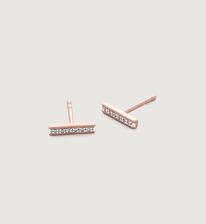 Rose Gold Vermeil Signature Skinny Diamond Earrings - Diamond - Monica Vinader