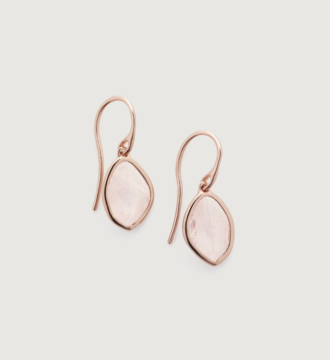Rose Gold Vermeil Petal Earrings - Rose Quartz - Monica Vinader