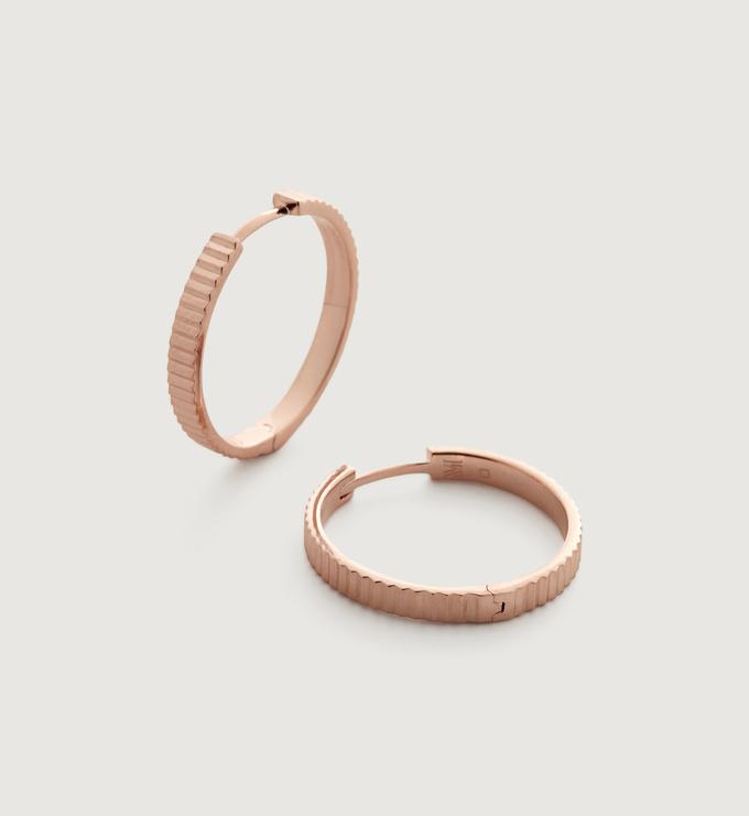 Rose Gold Vermeil Disco Small Hoop Earrings - Monica Vinader