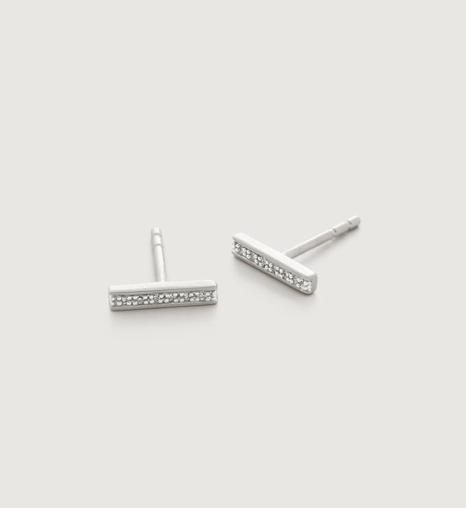 Sterling Silver Signature Skinny Diamond Earrings - Diamond - Monica Vinader