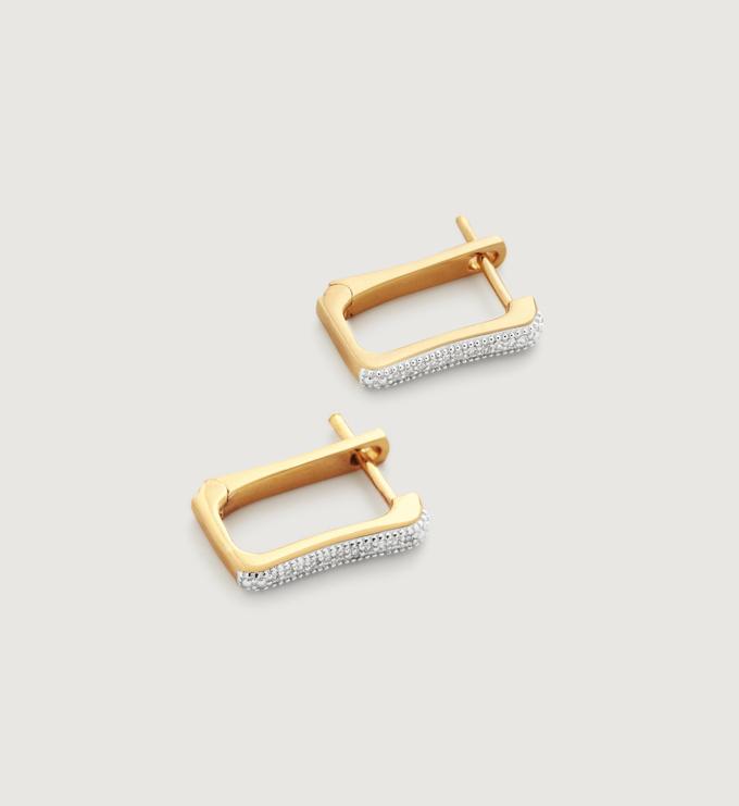Gold Vermeil Alta Capture Diamond Huggie Earrings - Diamond - Monica Vinader