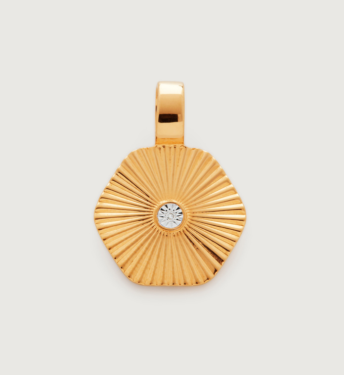 Gold Vermeil Disco Diamond Pendant - Diamond - Monica Vinader