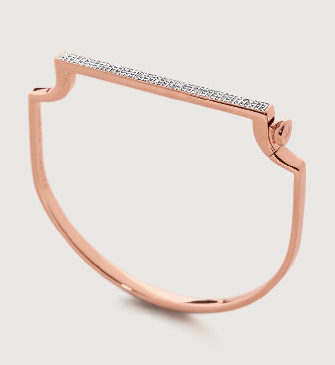 Rose Gold Vermeil Signature Thin Diamond Bangle - Diamond - Monica Vinader