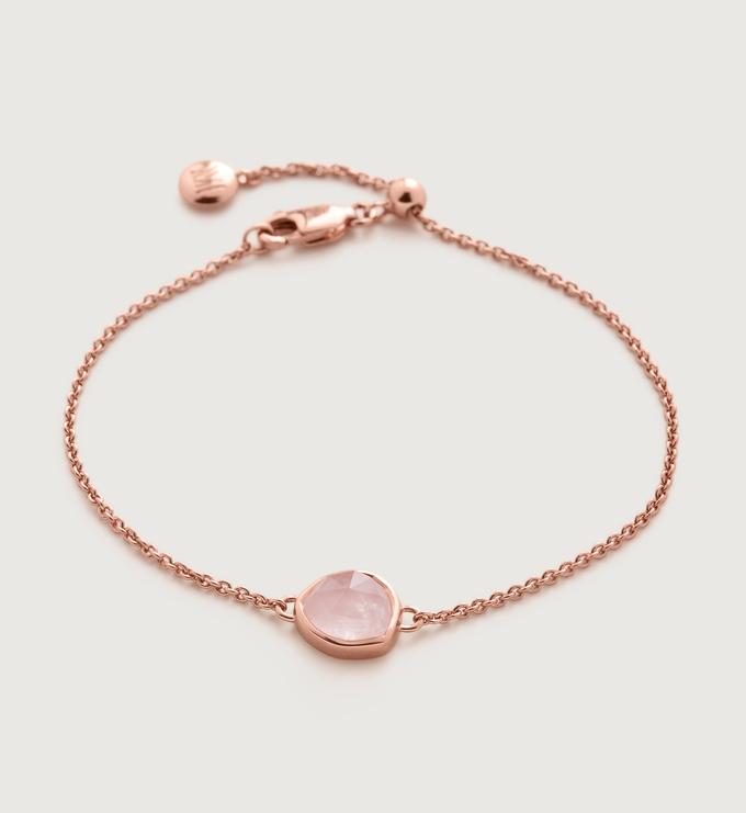 Rose Gold Vermeil Siren Fine Chain Bracelet - Rose Quartz - Monica Vinader