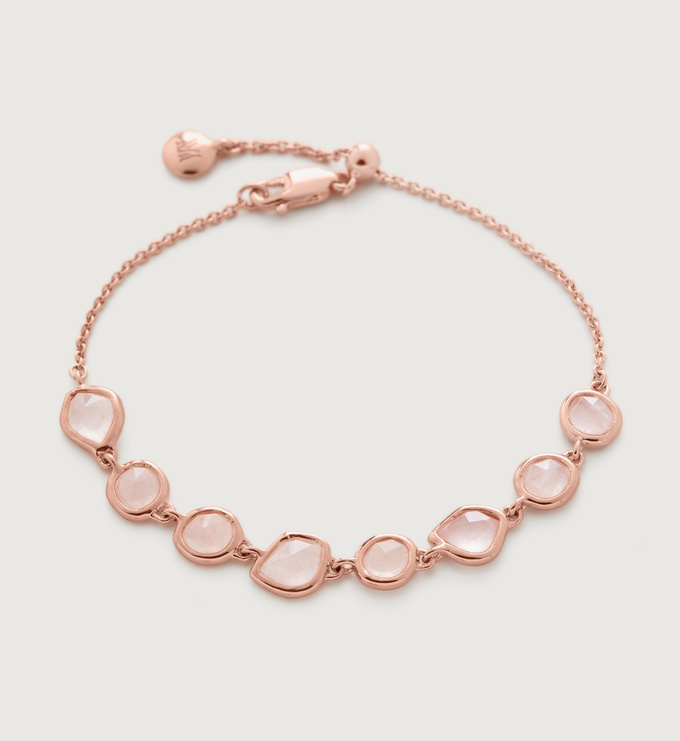 Rose Gold Vermeil Siren Mini Nugget Cluster Bracelet - Rose Quartz - Monica Vinader