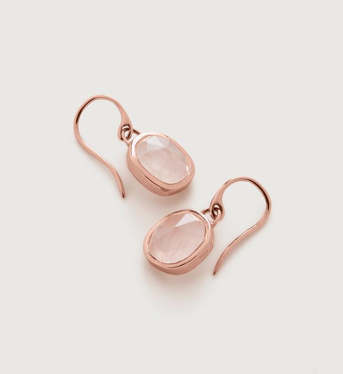 Rose Gold Vermeil Siren Wire Earrings - Rose Quartz - Monica Vinader