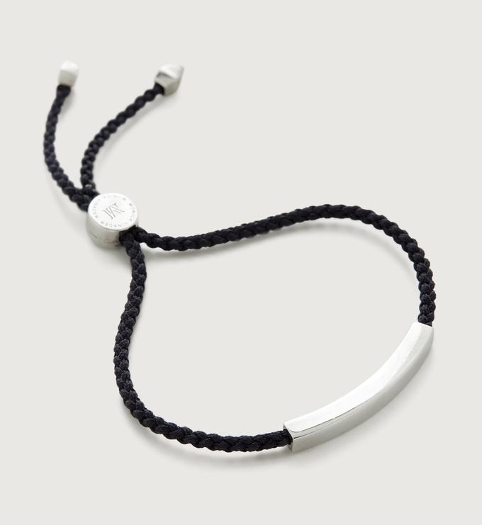 Sterling Silver Linear Men's Friendship Bracelet - Black - Monica Vinader