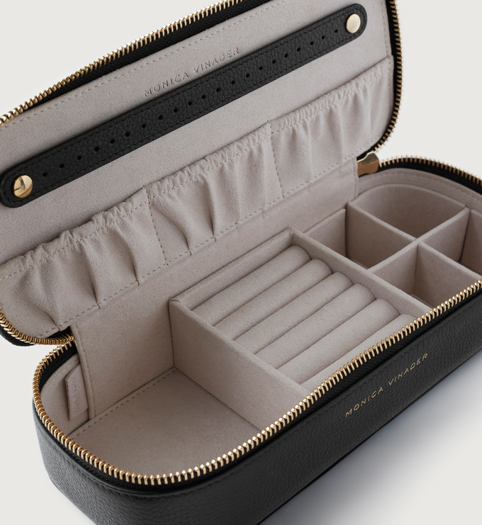 Leather Large Leather Jewellery Box - Black - Monica Vinader