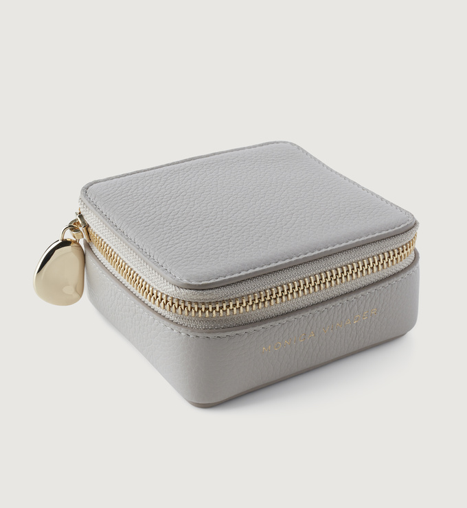 Leather Leather Jewellery Box - Pebble Grey - Monica Vinader