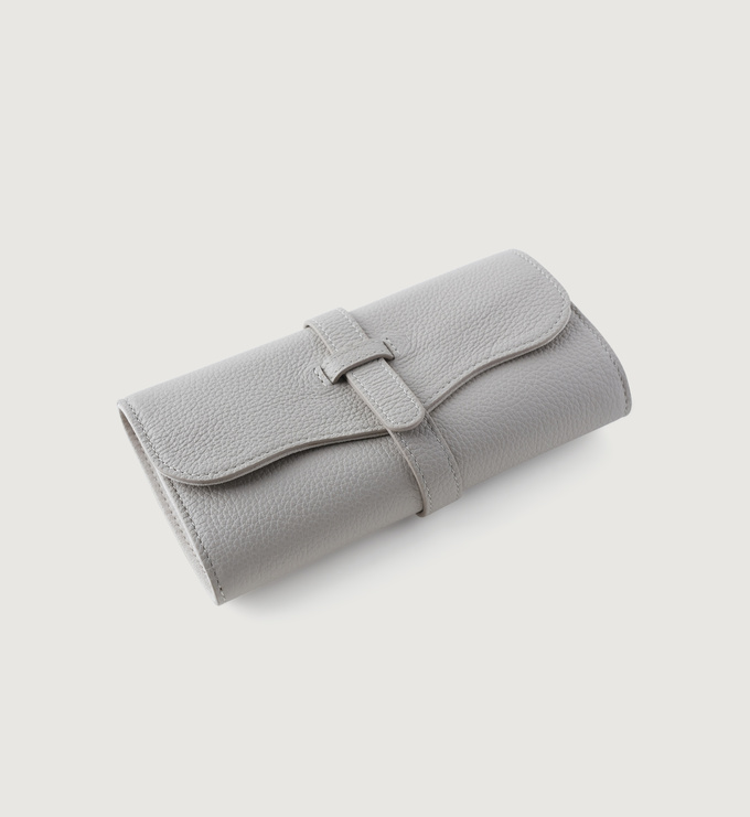 Leather Leather Jewellery Roll - Pebble Grey - Monica Vinader
