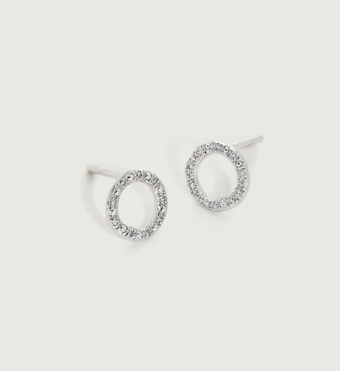 Sterling Silver Riva Diamond Circle Stud Earrings - Sterling Silver Riva Diamond Circle Stud Earrings - Diamond - Diamond - Monica Vinader