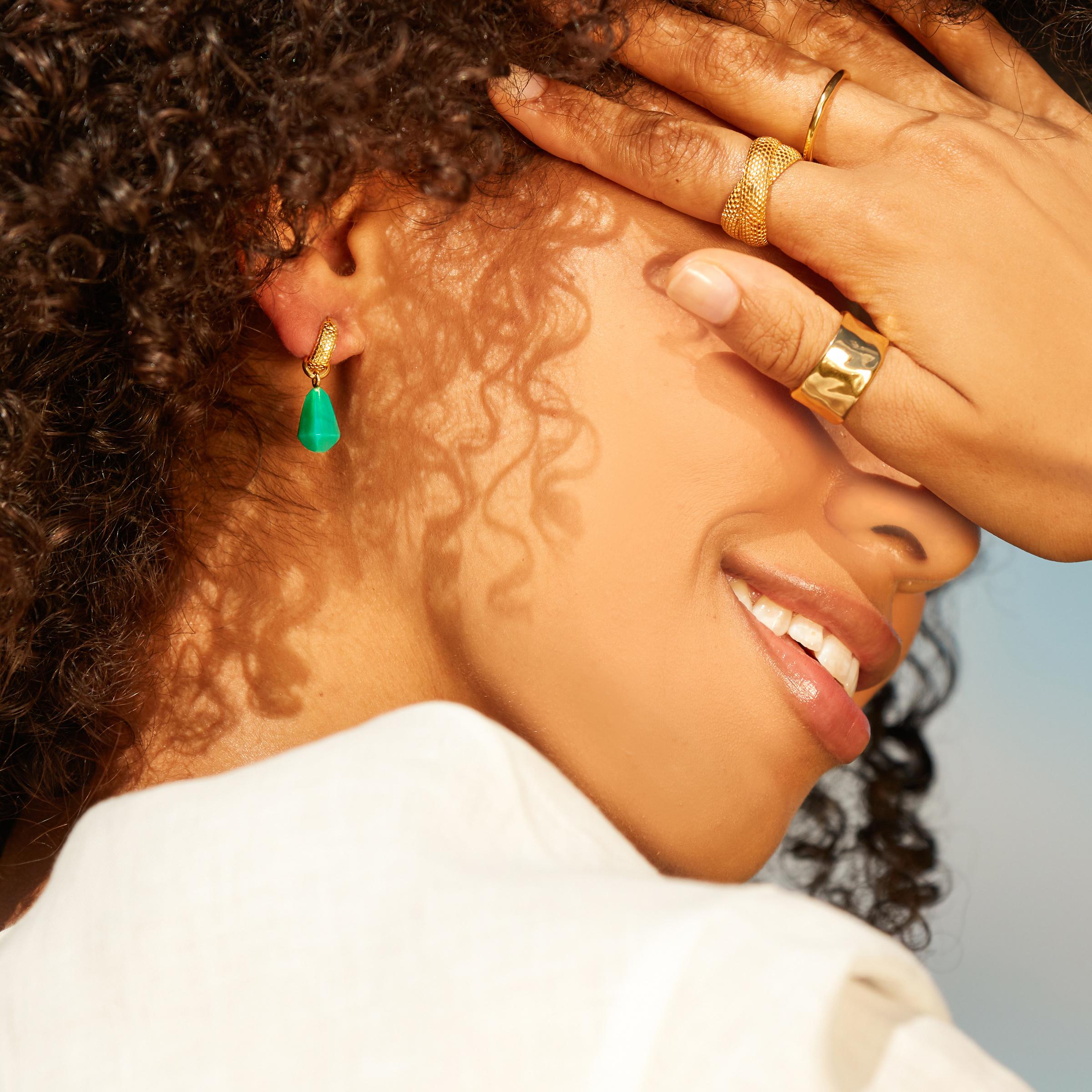 Doina Huggie Earrings In 18ct Rose Gold Vermeil On Sterling Silver Jewellery By Monica Vinader
