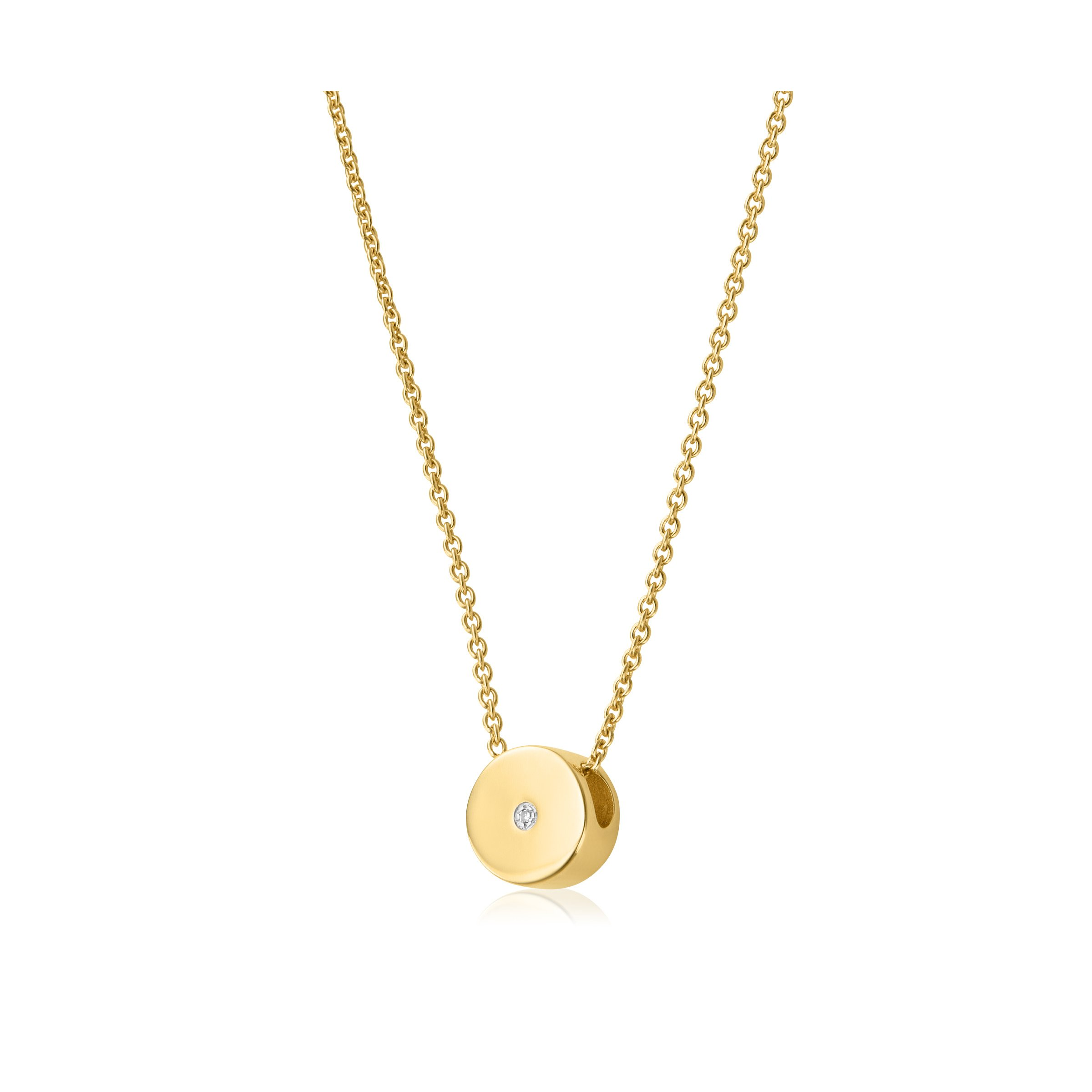 Linear Solo Diamond Necklace In 18ct Gold Vermeil On Sterling