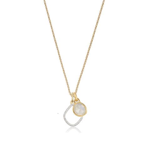 Siren Mini Bezel And Riva Diamond Pendant Charm Necklace Set   Moonstone by Monica Vinader