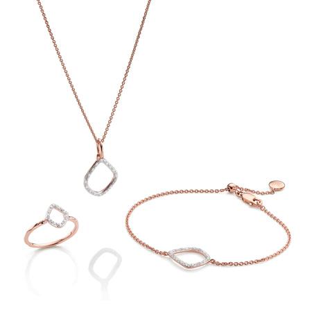 Riva Kite Ring, Bracelet And Necklace Diamond Set by Monica Vinader
