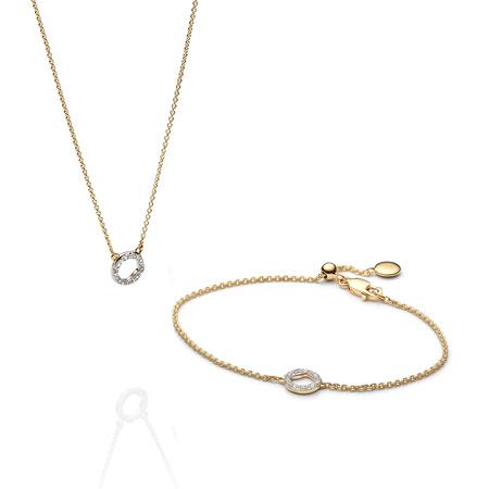 Riva Circle Necklace And Bracelet Diamond Set by Monica Vinader