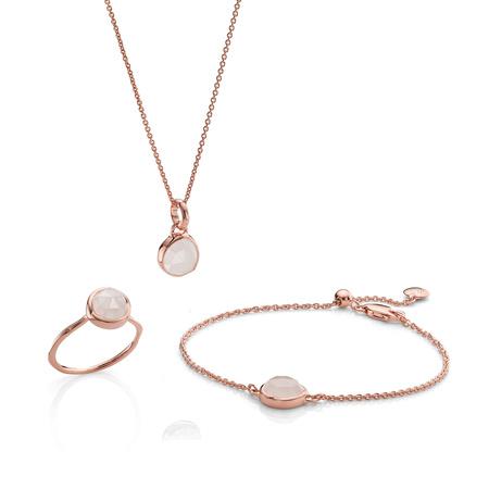 Siren Ring, Bracelet And Necklace Set   Rose Quartz by Monica Vinader