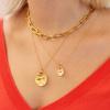 Gold Vermeil Siren Large Coin Gemstone Pendant Charm - Green Onyx - Monica Vinader