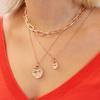 Rose Gold Vermeil Siren Large Coin Gemstone Pendant Charm - Pink Topaz - Monica Vinader