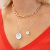 Sterling Silver Siren Large Coin Gemstone Pendant Charm - Blue Topaz - Monica Vinader