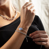 Sterling Silver Siren Nugget Friendship Chain Bracelet - Blue Lace Agate - Monica Vinader