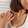 Gold Vermeil Siren Medium Stacking Ring - Moonstone - Monica Vinader