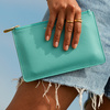 Leather Personalised Medium Leather Pouch  - Turquoise - Monica Vinader
