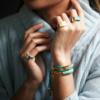 Gold Vermeil Linear Stone Bracelet - Blue Lace Agate - Monica Vinader