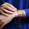 Rose Gold Vermeil Linear Friendship Bracelet - Green Metallica - Monica Vinader