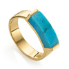 Gold Vermeil Linear Stone Ring - Turquoise - Monica Vinader