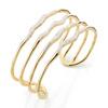 Gold Vermeil Riva Diamond Hero Wave Cuff - Large - Diamond - Monica Vinader