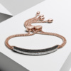 Rose Gold Vermeil Fiji Diamond Mini Bar Bracelet - Black Diamond - Monica Vinader