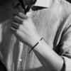 Linear Large Men's Friendship Bracelet - Black Cord Model