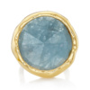Gold Vermeil Siren Cocktail Round Ring - Aquamarine front