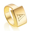 Gold Vermeil Linear Large Plain Ring - Monica Vinader