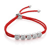 Sterling Silver Linear Bead Friendship Bracelet - Coral - Monica Vinader