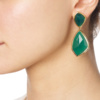 Gold Vermeil Siren Cocktail Earrings - Green Onyx model