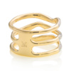 Gold Vermeil Riva Wave Triple band ring Back